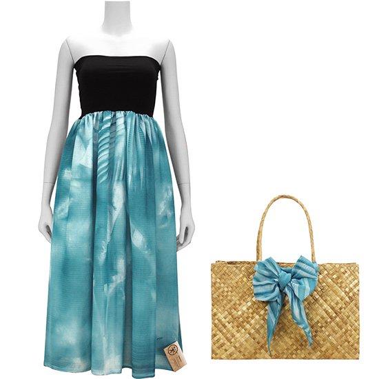 【BOZO】ブルー系の2wayチューブトップドレス ラウハラバッグ2点セット ヤシ・リーフ柄 51009-bozo1906
