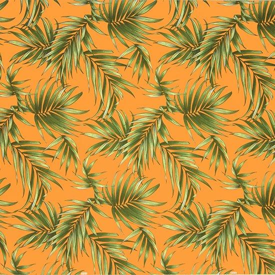 オレンジのハワイアンファブリック ヤシ柄 fab-2729OR 【4yまでメール便可】