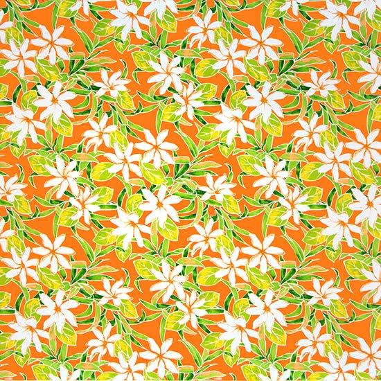 オレンジのハワイアンファブリック ティアレ柄 fab-2731OR 【4yまでメール便可】