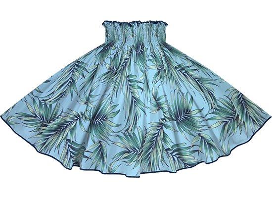 【パイピングパウスカート】 水色のパウスカート ヤシ柄 インディゴのパイピング pipau-2729AQ-indigo