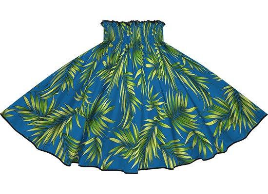 【パイピングパウスカート】 青のパウスカート ヤシ柄 ブラックのパイピング pipau-2729BL-black