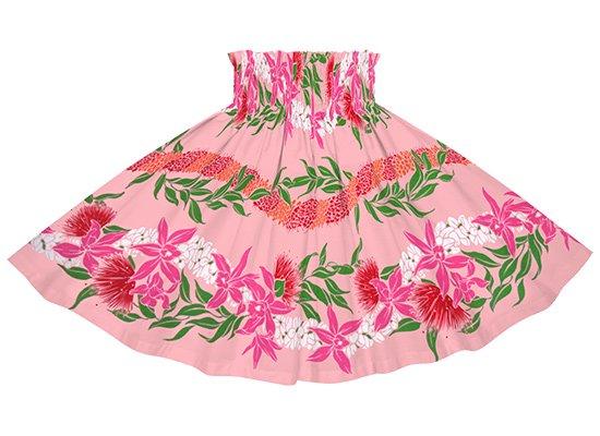 【ケイキ(子供)用】 ピンクのパウスカート オーキッド・レフア・レイ・ボーダー柄 kpau-2700Pi 53cm 3本ゴム【既製品】