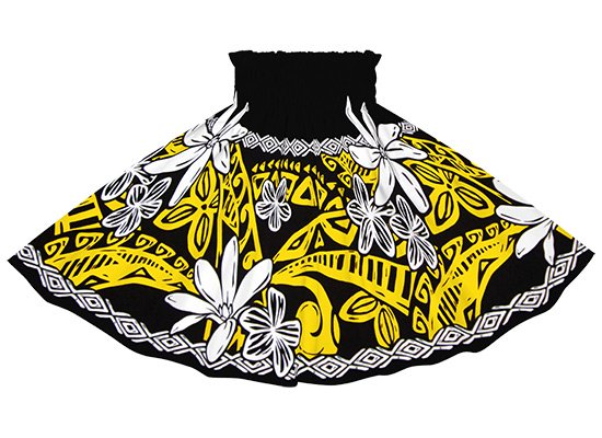 【ケイキ(子供)用】 黒のパウスカート ティアレ・プルメリア・タパ柄 kpau-2708BK 52cm 3本ゴム【既製品】