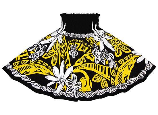 【ケイキ(子供)用】 黒のパウスカート ティアレ・プルメリア・タパ柄 kpau-2708BK 49cm 3本ゴム【既製品】