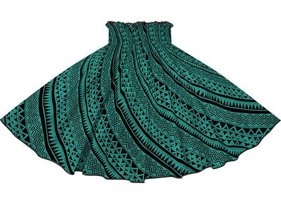 【パイピングパウスカート】 ヒスイ色のパウスカート タパ・カヒコ柄 ブラックのパイピング pipau-2740JD-black