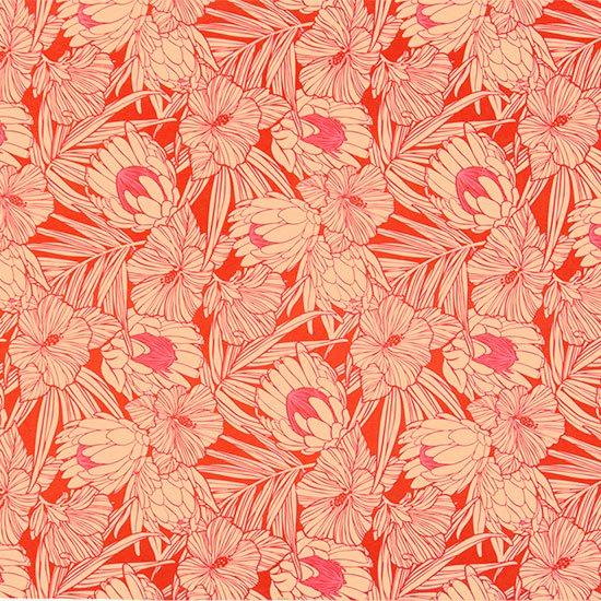 赤のハワイアンファブリック プロテア・ハイビスカス柄 fab-2743RD 【4yまでメール便可】