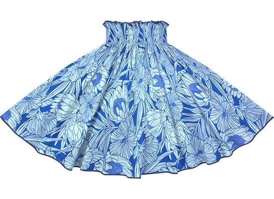 【パイピングパウスカート】 青と水色のパウスカート プロテア・ハイビスカス柄 オリエンタルブルーのパイピング pipau-2743BLAQ-orientalblue