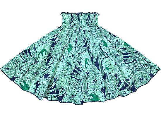 【パイピングパウスカート】 青とヒスイ色のパウスカート プロテア・ハイビスカス柄 インディゴのパイピング pipau-2743BLJD-indigo