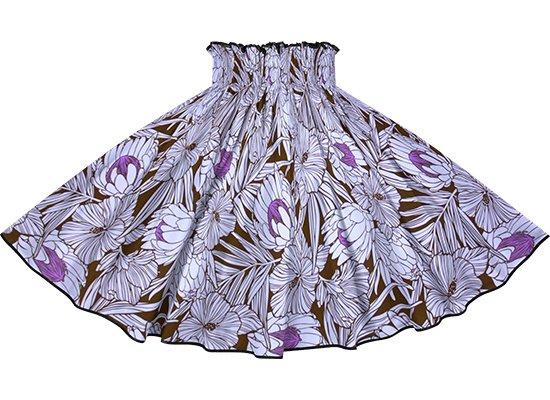 【パイピングパウスカート】 紫のパウスカート プロテア・ハイビスカス柄 ブラックのパイピング pipau-2743PP-black