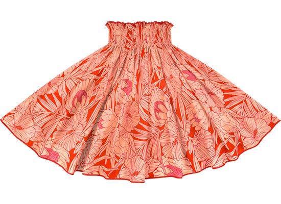 【パイピングパウスカート】 赤のパウスカート プロテア・ハイビスカス柄 チェリーレッドのパイピング pipau-2743RD-cherryred