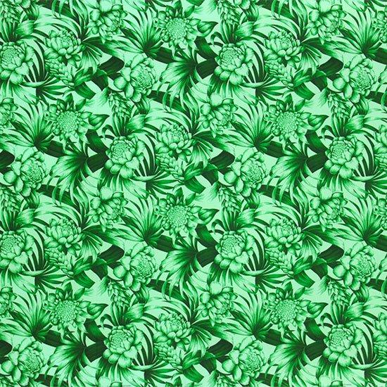 緑のハワイアンファブリック トーチジンジャー・ヤシ柄 fab-2746GN 【4yまでメール便可】