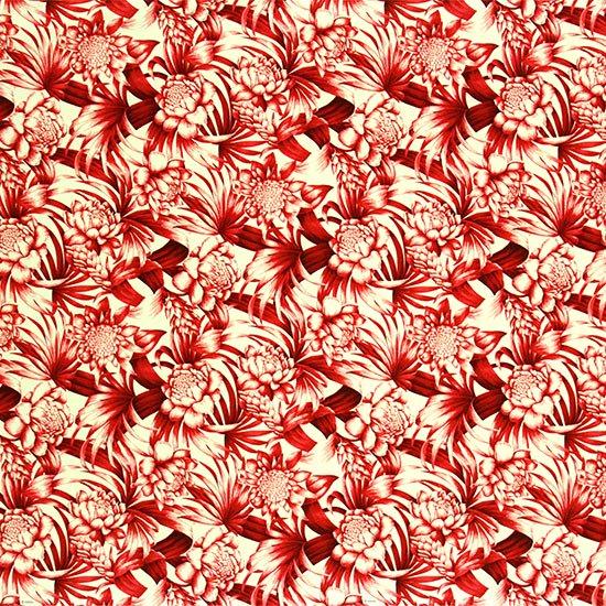赤のハワイアンファブリック トーチジンジャー・ヤシ柄 fab-2746RD 【4yまでメール便可】