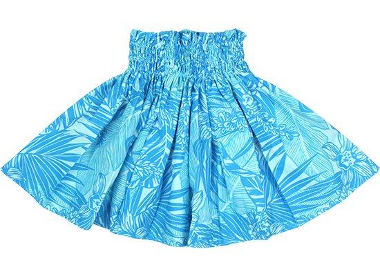 【ケイキ(子供)用】 水色のパウスカート オーキッド・ヤシ・バナナリーフ柄 kpau-2715AQ 45cm 3本ゴム【既製品】