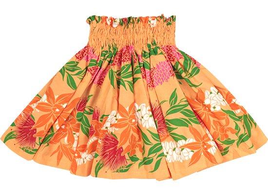【ケイキ(子供)用】 オレンジのパウスカート オーキッド・レフア・レイ・ボーダー柄 kpau-2700OR 45cm 3本ゴム【既製品】