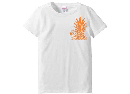 レディースTシャツ−パイナップルガール 白 Sサイズ 【既製品】 【メール便可】
