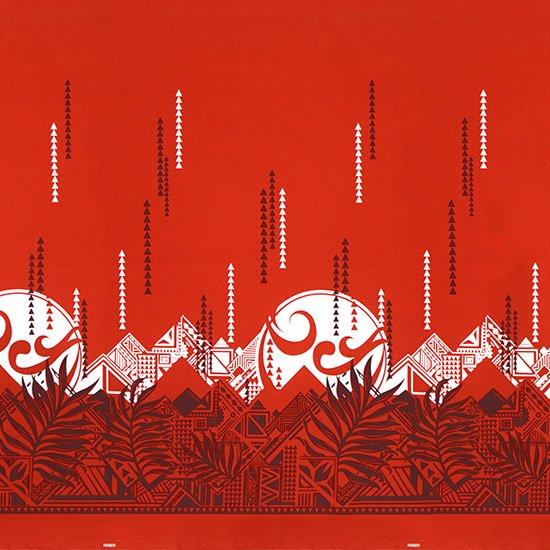 赤のハワイアンファブリック ヤシ・オヘカパラ柄 fab-2750RD 【4yまでメール便可】