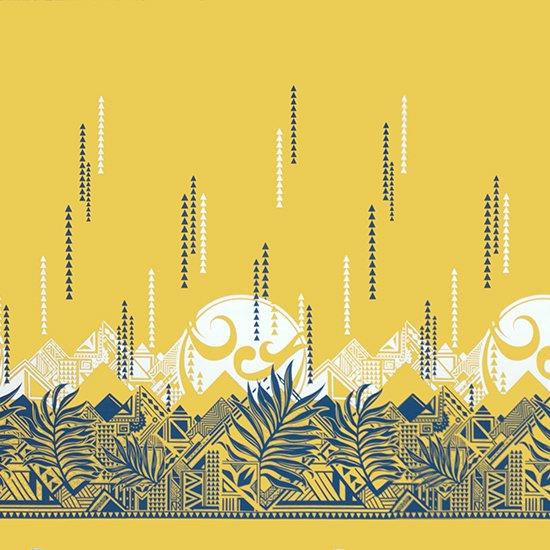黄色のハワイアンファブリック ヤシ・オヘカパラ柄 fab-2750YW 【4yまでメール便可】