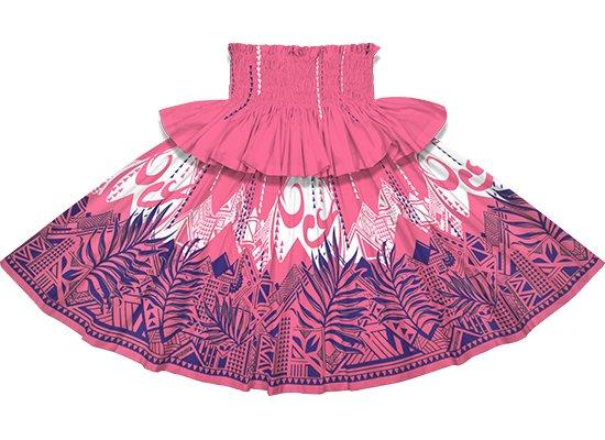 【フリルパウスカート】ピンクのパウスカート ヤシ・オヘカパラ柄 frpau-2750Pi