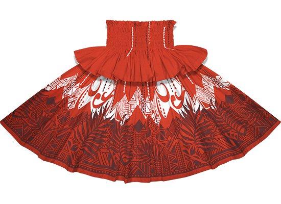 【フリルパウスカート】赤のパウスカート ヤシ・オヘカパラ柄 frpau-2750RD