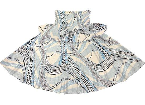 【フリルパウスカート】 水色のパウスカート タパ・カヒコ柄 fpau-2736AQ 73cm 4本ゴム ロック仕上げ【既製品】