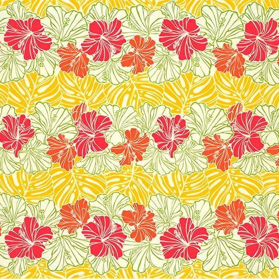 クリーム色と黄色のハワイアンファブリック ハイビスカス・モンステラ・ボーダー柄 fab-2751CRYW 【4yまでメール便可】