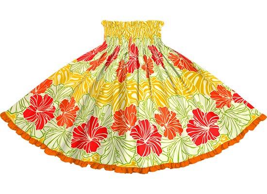 【リヒリヒパウスカート】 クリーム色と黄色のパウスカート ハイビスカス・モンステラ・ボーダー柄 lhpau-2751CRYW-vividorange