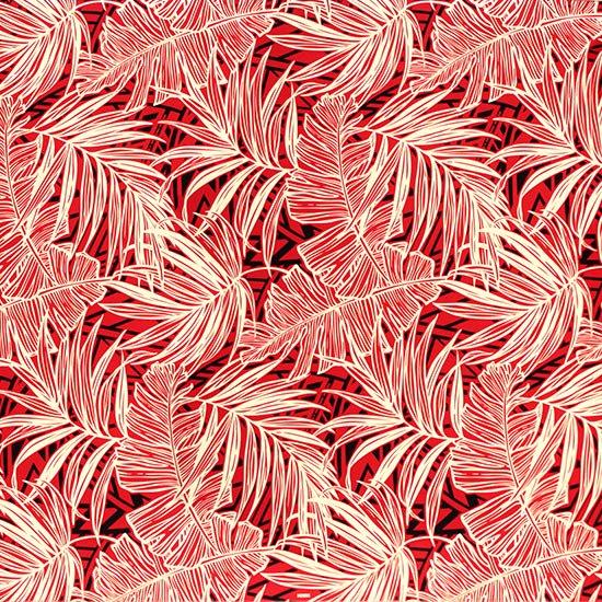 赤とクリーム色のハワイアンファブリック ヤシ・バナナリーフ柄 fab-2752RDCR 【4yまでメール便可】