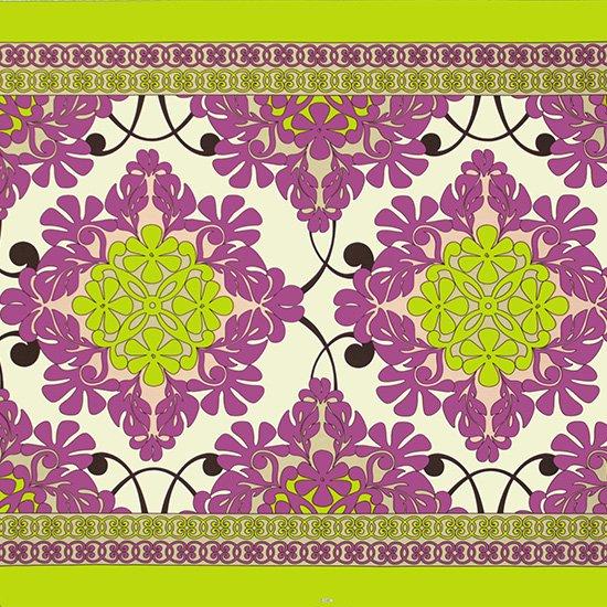 クリーム色と紫のハワイアンファブリック キルト柄 fab-2753CRPP 【4yまでメール便可】