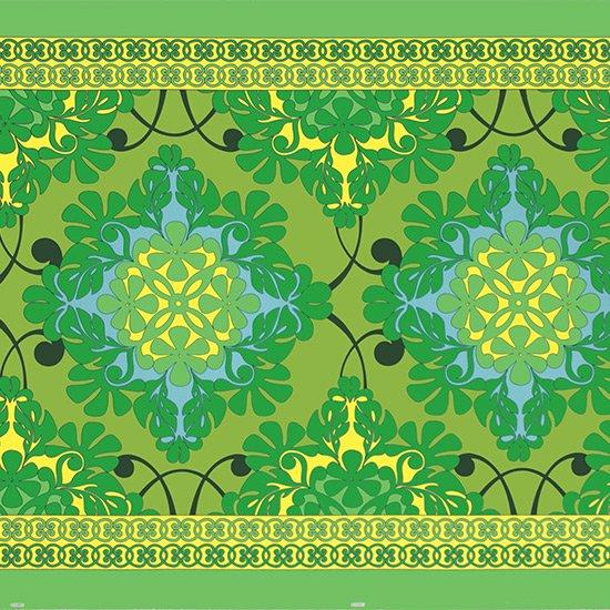 緑のハワイアンファブリック キルト柄 fab-2753GN 【4yまでメール便可】