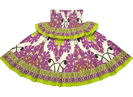 【フリルパウスカート】クリーム色と紫のパウスカート キルト柄 frpau-2753CRPP