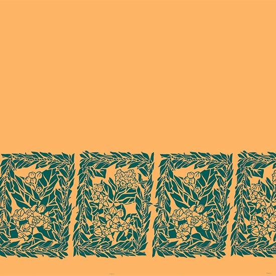 オレンジのハワイアンファブリック クラウンフラワー・ティリーフレイ柄 fab-2754OR 【4yまでメール便可】