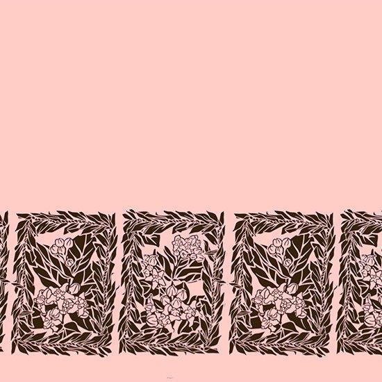 ピンクのハワイアンファブリック クラウンフラワー・ティリーフレイ柄 fab-2754Pi 【4yまでメール便可】