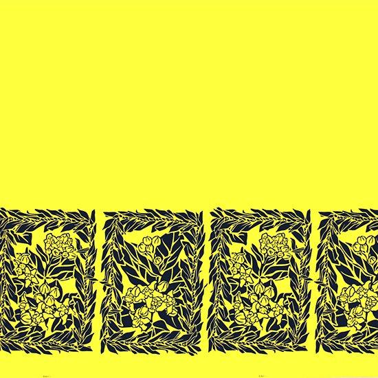 黄色のハワイアンファブリック クラウンフラワー・ティリーフレイ柄 fab-2754YW 【4yまでメール便可】