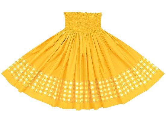 【ポエポエパウスカート】 黄色のパラカ柄とゴールドの無地 pppau-s-2028YW-gold