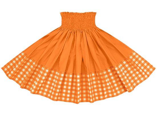 【ポエポエパウスカート】 オレンジのパラカ柄とビビッドオレンジの無地 pppau-l-2028OR-vividOR
