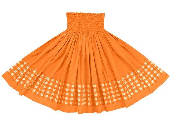 【ポエポエパウスカート】 オレンジのパラカ柄とビビッドオレンジの無地 pppau-s-2028OR-vividOR