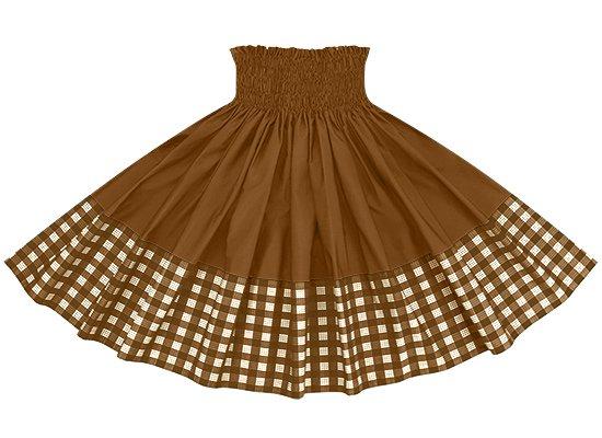 【ポエポエパウスカート】 茶色のパラカ柄とモカブラウンの無地 pppau-l-2028BR-mocha