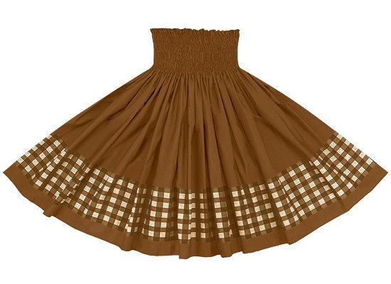 【ポエポエパウスカート】 茶色のパラカ柄とモカブラウンの無地 pppau-s-2028BR-mocha