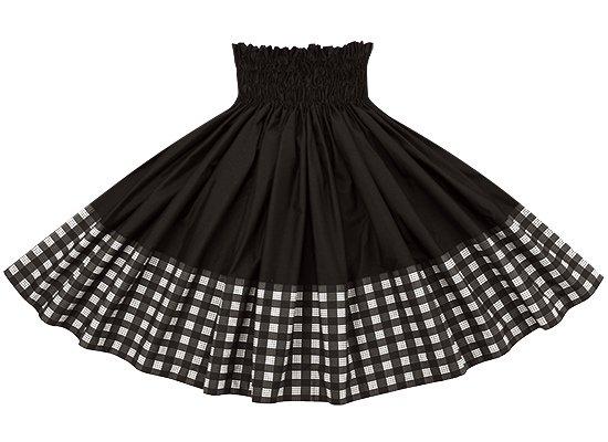 【ポエポエパウスカート】 黒のパラカ柄とブラックの無地 pppau-l-2028BK-black