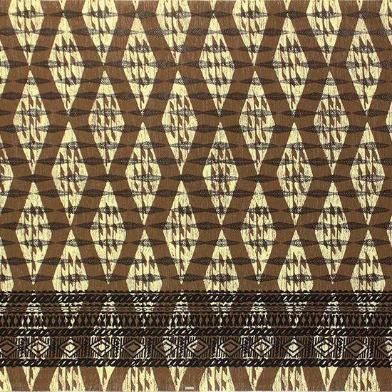 茶色のハワイアンファブリック カヒコ・ボーダー柄 fab-2756BR 【4yまでメール便可】