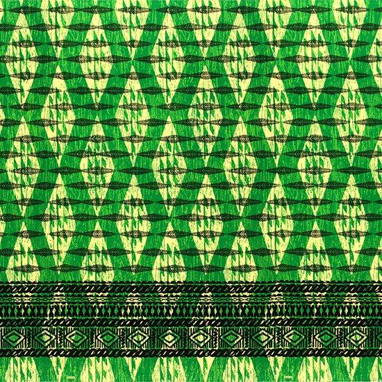 緑のハワイアンファブリック カヒコ・ボーダー柄 fab-2756GN 【4yまでメール便可】