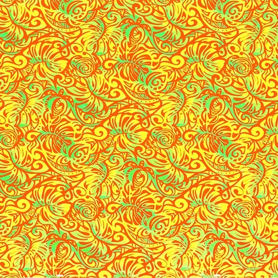 オレンジとヒスイ色のハワイアンファブリック モンステラ・ホヌ柄 fab-2757ORJD 【4yまでメール便可】