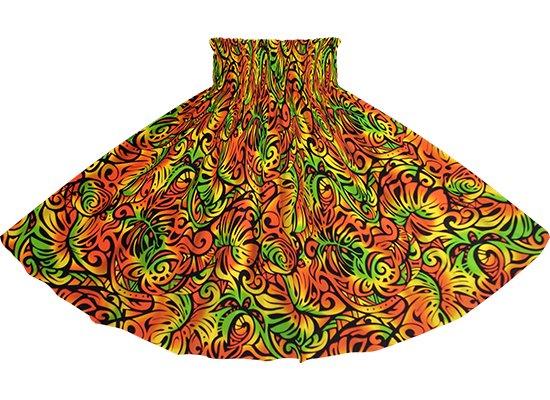 オレンジと黒のパウスカート モンステラ・ホヌ柄 spau-2757ORBK