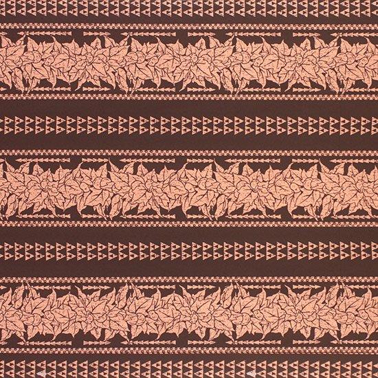 茶色のハワイアンファブリック ククイ・カヒコボーダー柄 fab-2758BR 【4yまでメール便可】