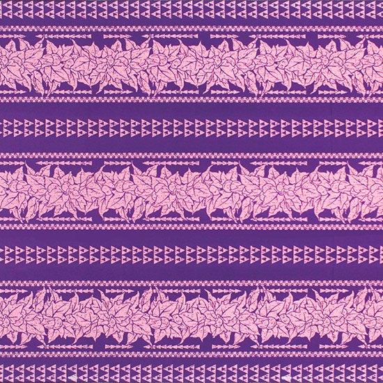 紫のハワイアンファブリック ククイ・カヒコボーダー柄 fab-2758PP 【4yまでメール便可】