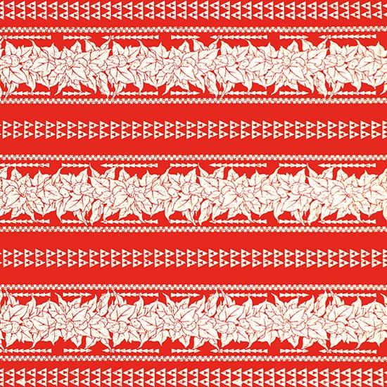 赤のハワイアンファブリック ククイ・カヒコボーダー柄 fab-2758RD 【4yまでメール便可】
