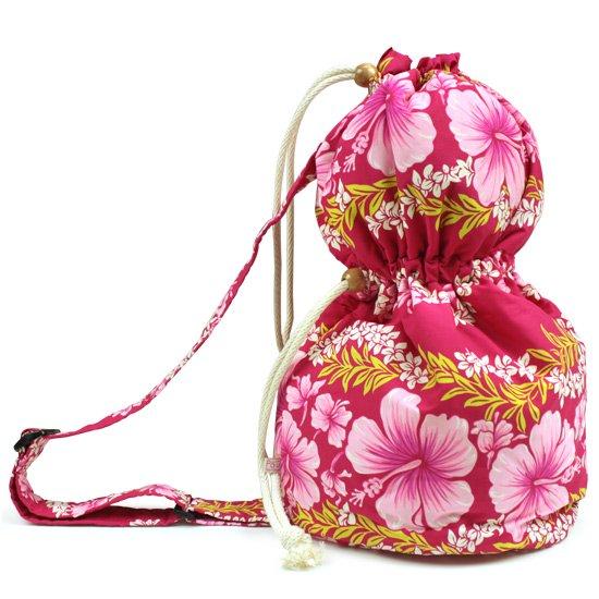 出し入れしやすい ピンクのイプケース ショルダータイプ ハイビスカス・プルメリアレイ・ボーダー柄 ipucase-sld-2584Pi  イプバッグ 【既製品】