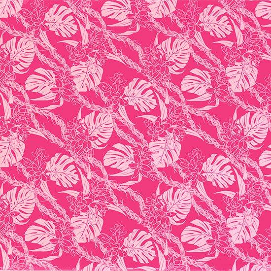ピンクのハワイアンファブリック モンステラ・ピカケ・カウナオアレイ柄 fab-2759Pi 【4yまでメール便可】
