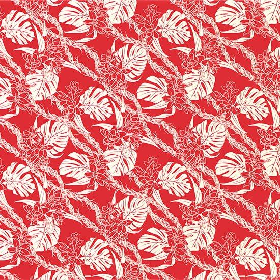 赤のハワイアンファブリック モンステラ・ピカケ・カウナオアレイ柄 fab-2759RD 【4yまでメール便可】