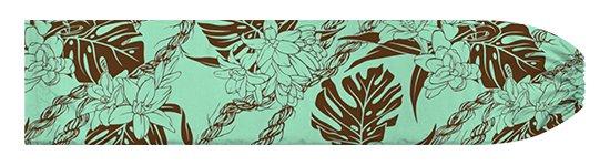 水色と茶色のパウスカートケース モンステラ・ピカケ・カウナオアレイ柄 pcase-2759AQBR 【メール便可】★オーダーメイド